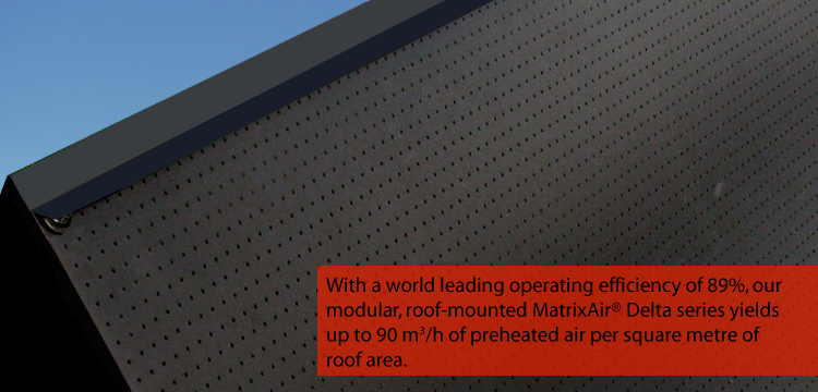 solar air heating system - delta roof mounted